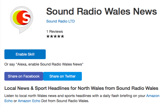 Alexa Skill from Sound Radio Wales