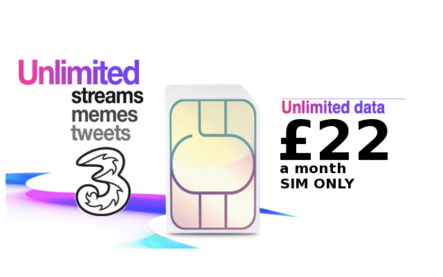Get an UNLIMITED SIM on Three for only £22 a month