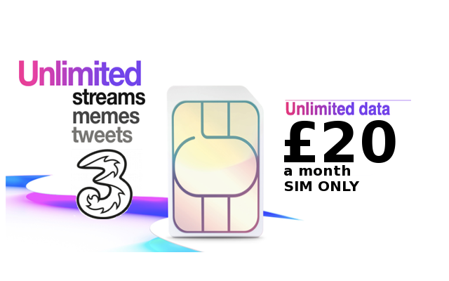 Get an Unlimited SIM on Three for only £20 a month